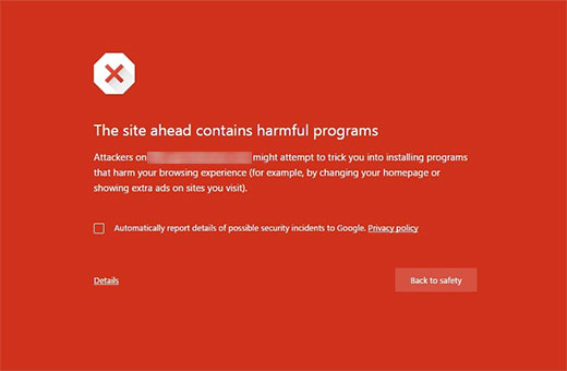 Harmful programs error in Google Chrome