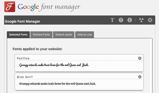 Google Fonts Manager