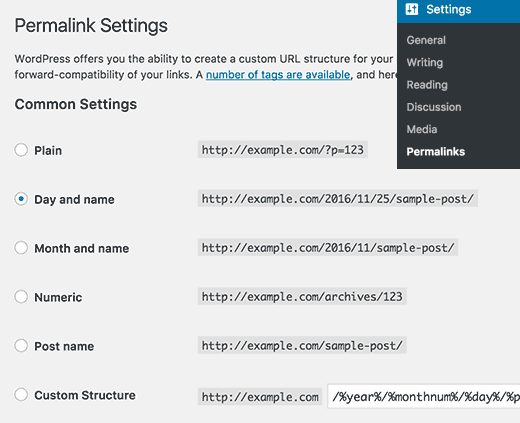 Permalink settings page in WordPress