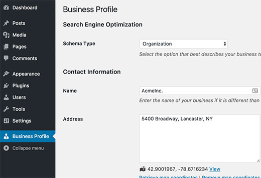 Business profile settings page