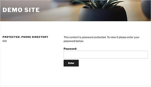 Password protected content