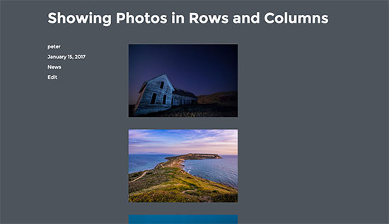 default scrolling display of photos in WordPress
