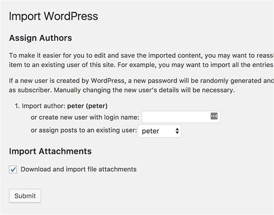 Cài đặt nhập WordPress