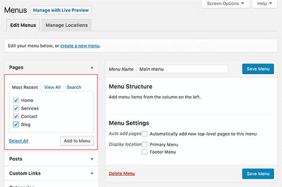Añadir páginas al menú de WordPress