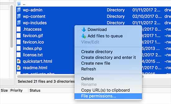 Setting permissions for all files