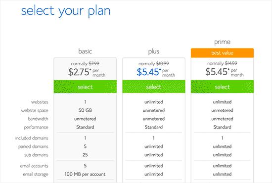 Selecteer uw hostingplan
