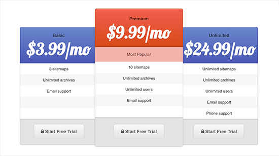 Pricing table preview