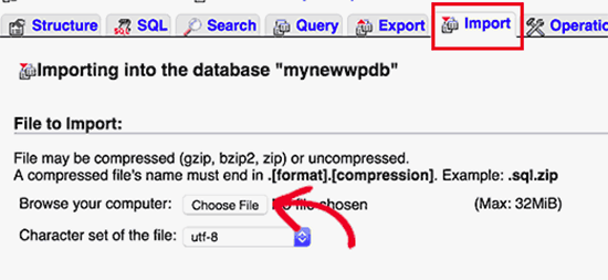 Importing your database