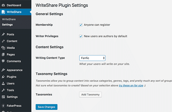 WriteShare settings page