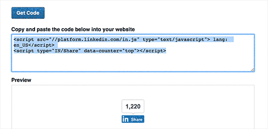 Copy the LinkedIn share button code