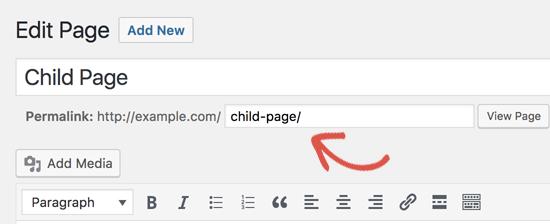 Benutzerdefinierte Seiten-URL