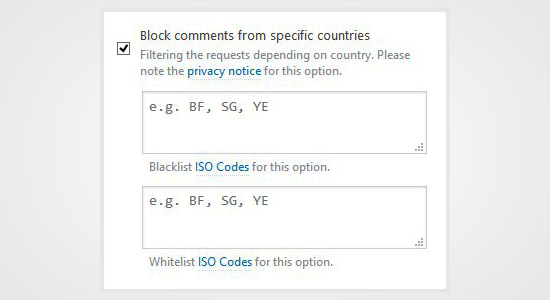 Block Comments from Countries
