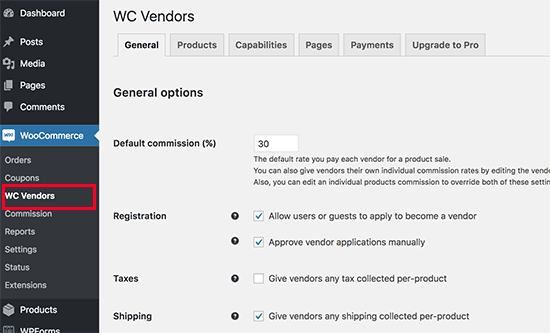 multi-vendor settings