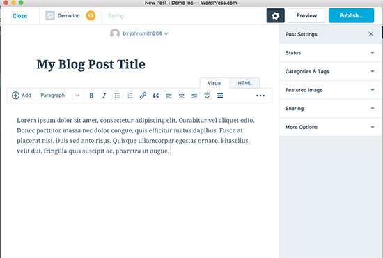 Writing posts in WordPress desktop app
