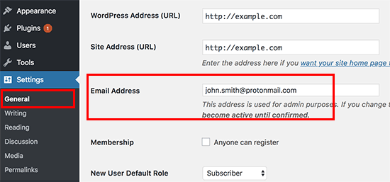 Adding admin email address in WordPress