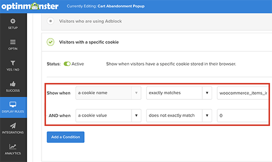 Pelacakan cookie WooCommerce di OM