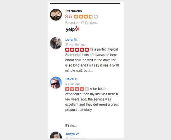Yelp reviews in WordPress sidebar widget