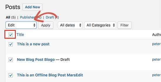 Select all your posts