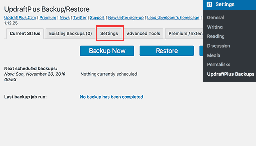 Setting up WordPress backups using UpdraftPlus