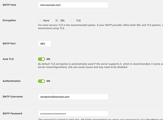 JustHost SMTP settings for WP Mail SMTP