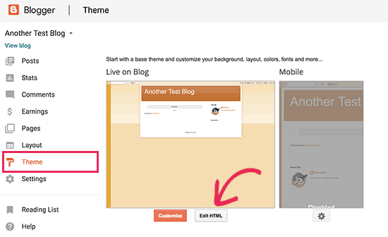 Edit Blogger theme