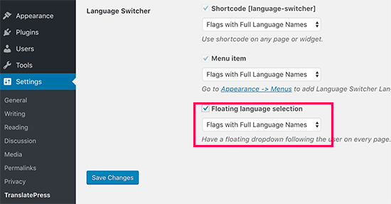 Floating language switcher