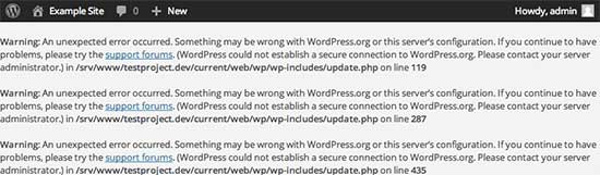 Secure connection error in WordPress