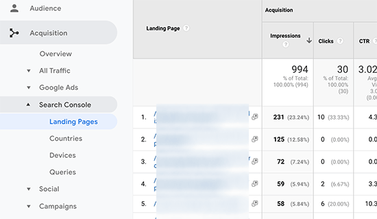 Search console data in Google Analytics reports