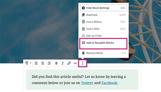 Add to reusable blocks