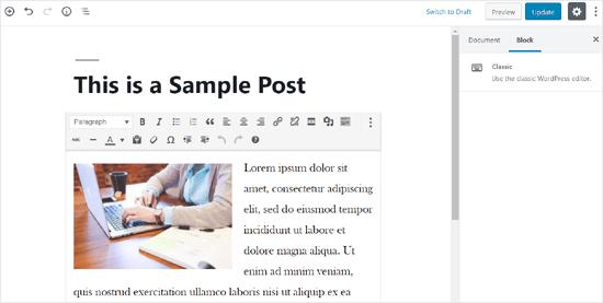Classic Block in Gutenberg Editor