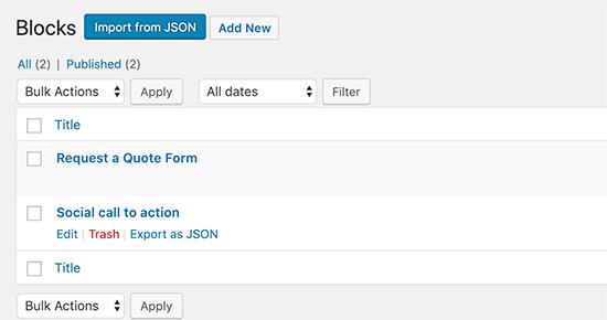 Import eksport genanvendelige blokke i WordPress