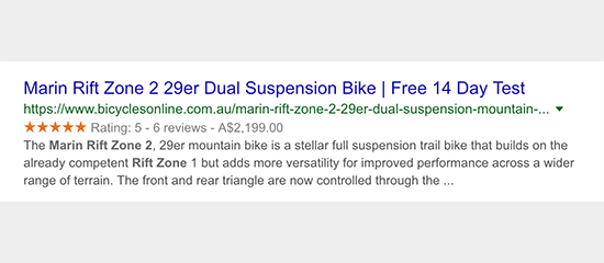 Rich snippets in Google search