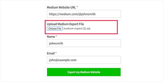 Upload your Medium export file