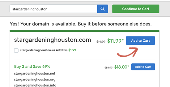 Add domain name to cart