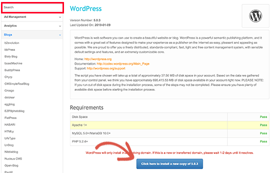 Fantastico WordPress installer