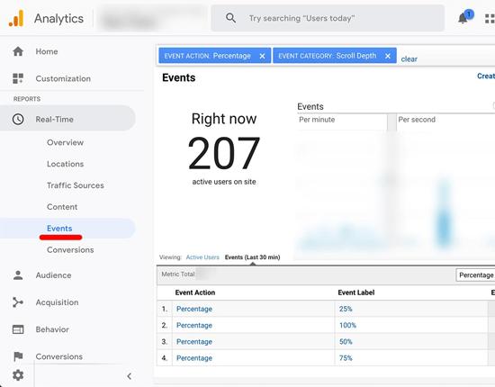 Отслеживание прокрутки Google Analytics в режиме реального времени
