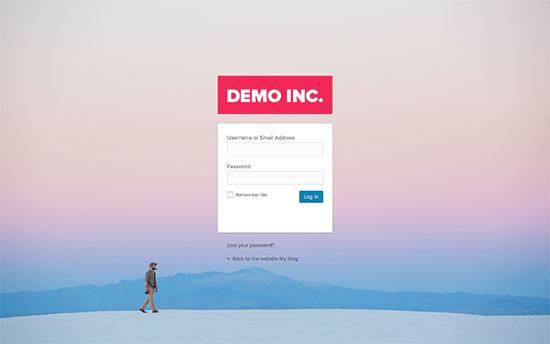 Custom WordPress login page with custom logo