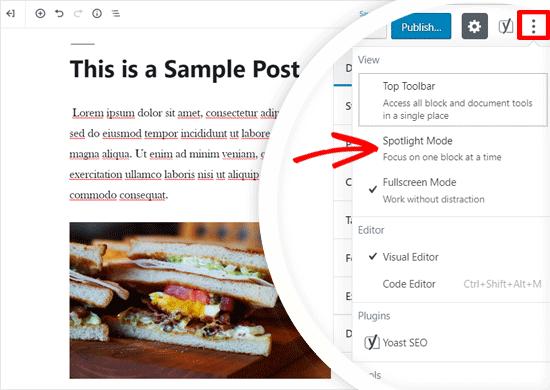 Habilitar el modo Spotlight en WordPress Editor