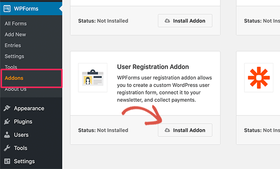 Install user registration addon