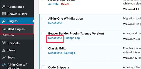 Deactivate a WordPress plugin