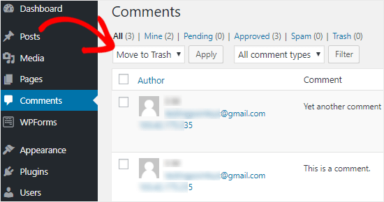 Delete all WordPress comments