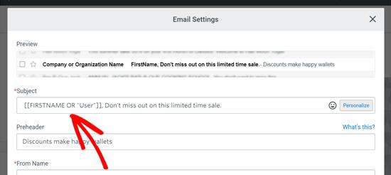 Línea de asunto personalizada en constante contacto Email Blast