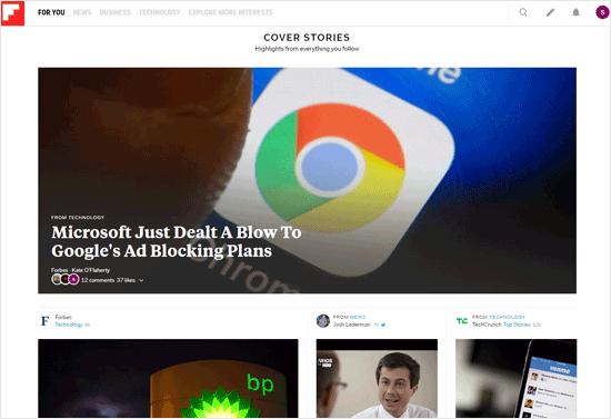 Flipboard Blog Aggregator Website