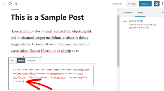 Paste the Twitter profile Embed Code in Custom HTML Block