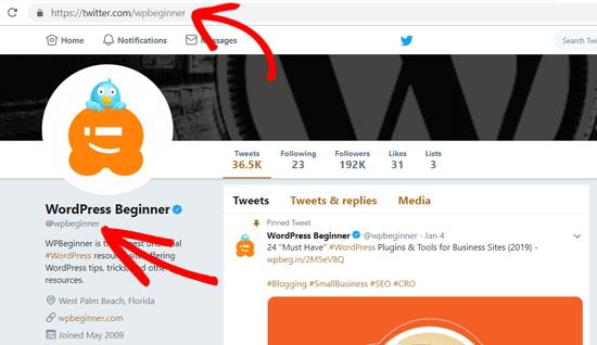Twitter Profile URL