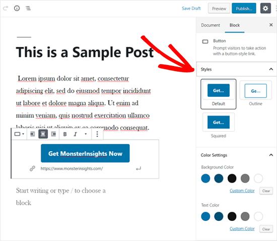 Choose Button Style in WordPress Block Settings