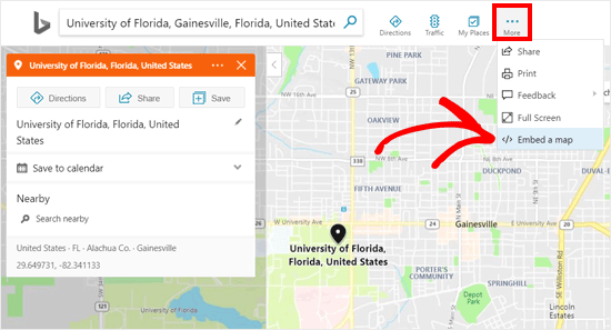 Embed a Map option in Bing Maps