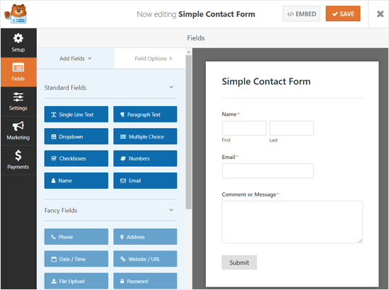 Drag and Drop Form Builder WPForms