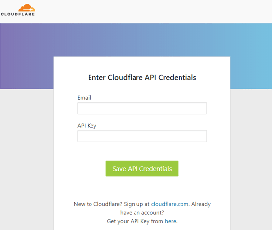 Enter Cloudflare API credentials Form