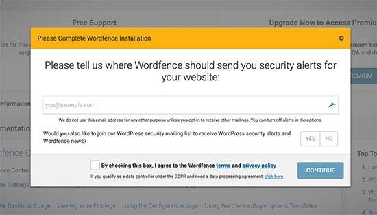 Wordfence setup